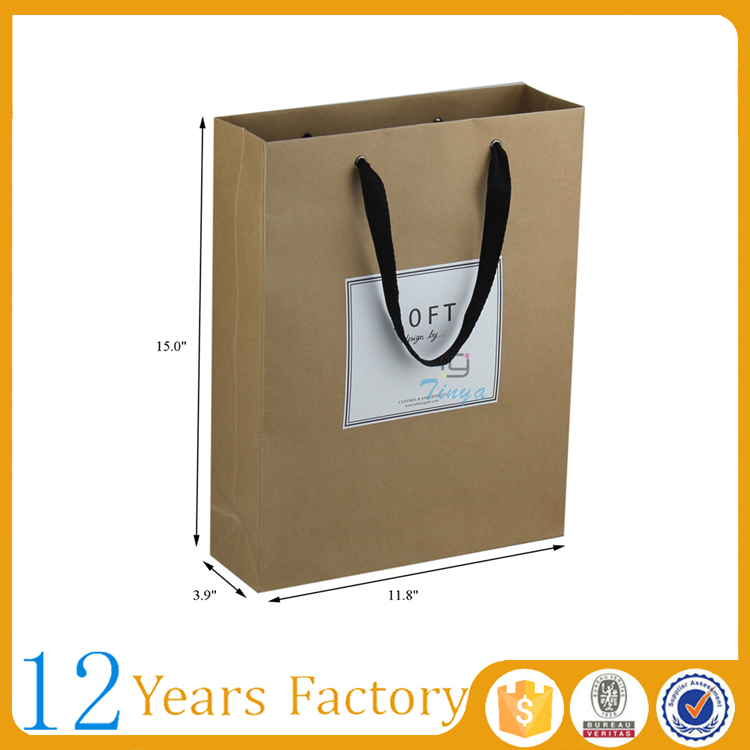 Brown kraft flat handle paper grocery bags