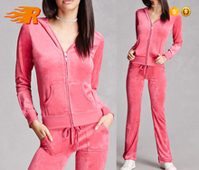 Fashion Custom Womens Plain Slim Fit Velour Tracksuit