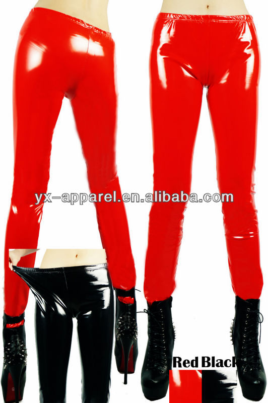 photos garter red black spandex pvc/latex rubber/ vinly print leggings