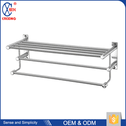 Home decoration 304 stainless steel wall bathroom shelf with towel bar
