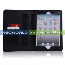 Leather Case Cover and Flip Stand with Elastic Hand Strap For iPad Mini- Automatically Wakes and Sleeping Function