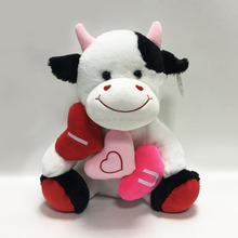 Valentine's Day cute stuffed wholesale super soft plush animal toy milk cow with heart