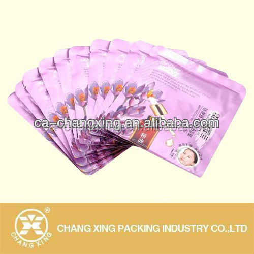 Custom Printing Foil Inside Make Up Comestic Face Mask Packaging Bag/Three Side Sealed Mask Sachet Bag