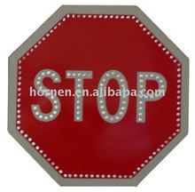 Solar traffic flashing led stop sign aluminium warning sign road safty