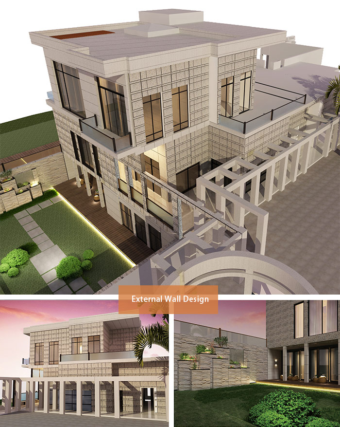 Customized Contemporary style luxury architecture 3d villa design