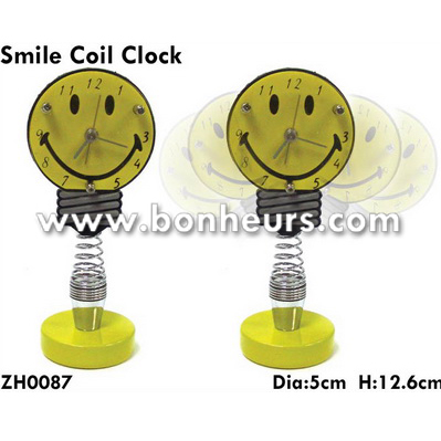 New Novelty Toy Smiley Boingy Spring Head Smile Coil Clock