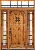 Wrought-Iron Grills Solid Mahogany Wood Entry Single Door