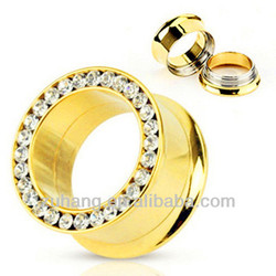 Ear Tunnel Piercing Jewelry Gold Plated Screw Fit Double Flared Flesh Tunnel with CZ Gems
