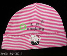 New Design Ice-cream design rose red& white striped printed beanie baby hat