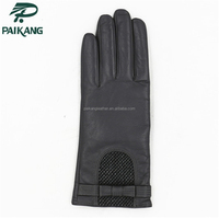 Womens fashion motorbike black gloves with open back