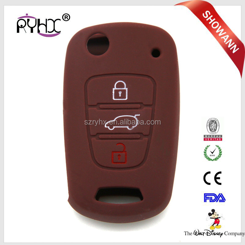 Waterproof silicone car key cover for Kias flip remote key case for Kias RIO K2 K5