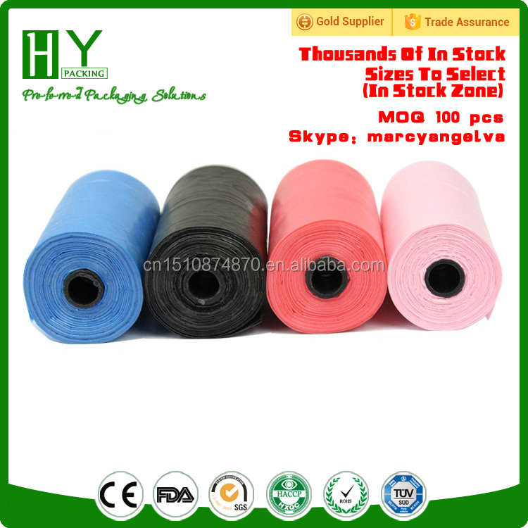 Yiwu in Stock MOQ 1 roll hdpe ldpe biodegradable plastic cheap color bags dog poop bags