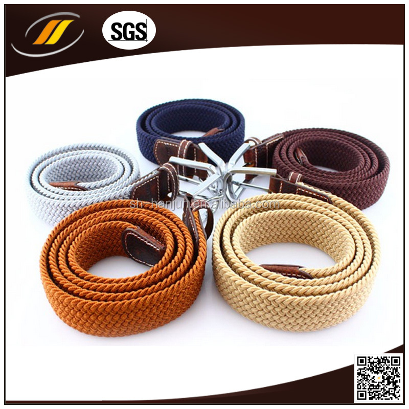 Men Pin Buckle Polyester Elastic Braid Belt