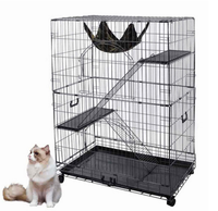 "China supplier ISO certification Black 48"" 2 Door Pet Cage Folding Dog Cat Crate"