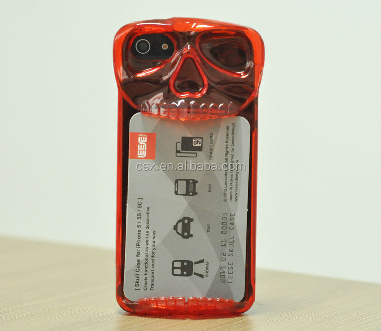 Skull Card Stand Case Cover Casing For iPhone 5 5S Cell Phone Accessories