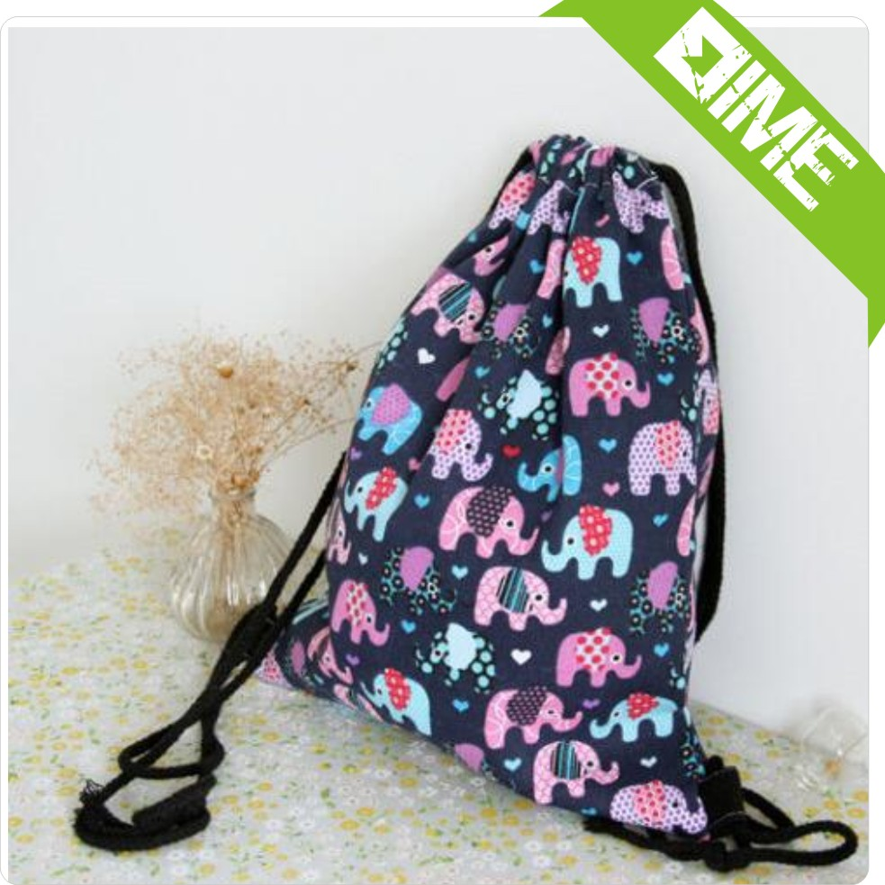 Full Color Cotton Calico Shoe Drawstring Bag