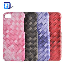 New fashional design mobile phone accessories colored weave pattern pu leather phone case for iphone 8