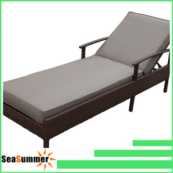 Beach swimming pool outdoor poly wicker rattan sun lounger/rattan sunbed