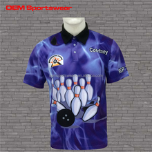 Wholesale custom sublimated combination bowling shirts/ polo jersey