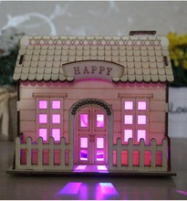 Plywood Material and Furniture toy Product style wooden doll puzzle house