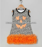 Black & Orange Zebra Sparkle Pumpkin Ruffle Dress - Infant, Toddler & Girls