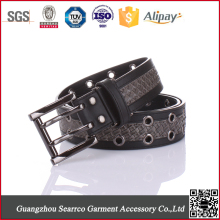 Black Punched Holes Men's Genuine Spanish Leather Belt