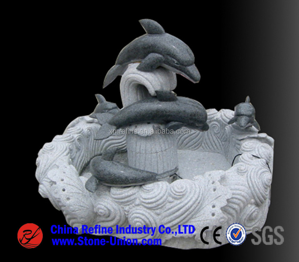 Dolphin carving granite water fountains in Stone Garden Products,Double dolphin granite fountain statue