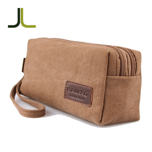 High quality new fashion durable vintage student big capacity canvas pencil pouch wallet