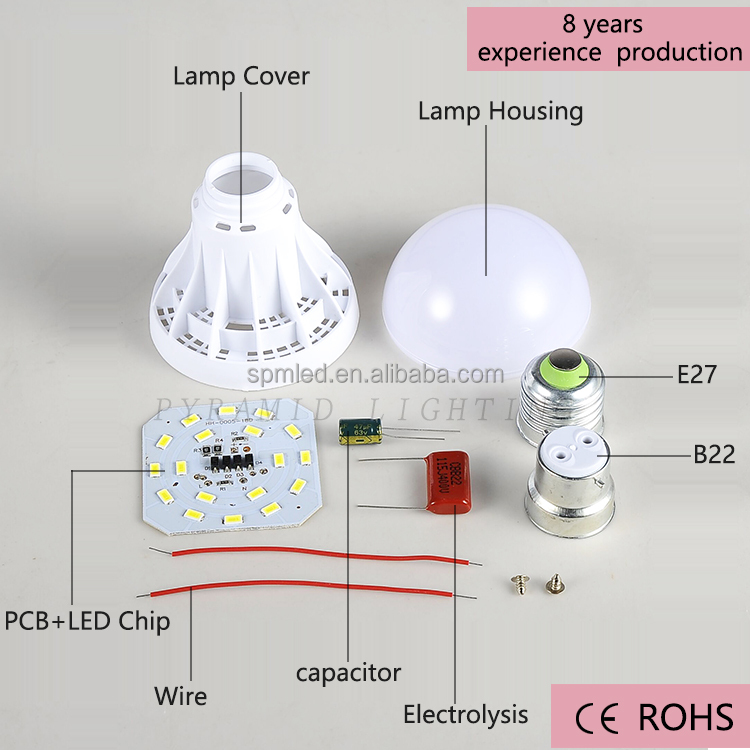 5W B22 Factory Wholesales Cheap LED Light <strong>Bulb</strong> Parts Plastic Spare part SKD CKD LED <strong>Bulb</strong>