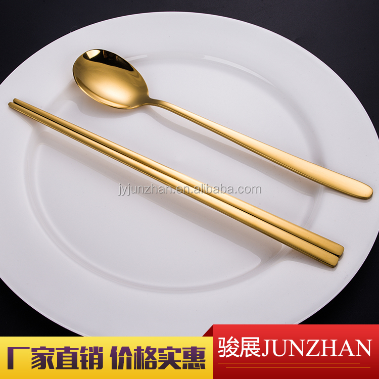 Gold titanium coating chopsticks and spoon sets Korean style