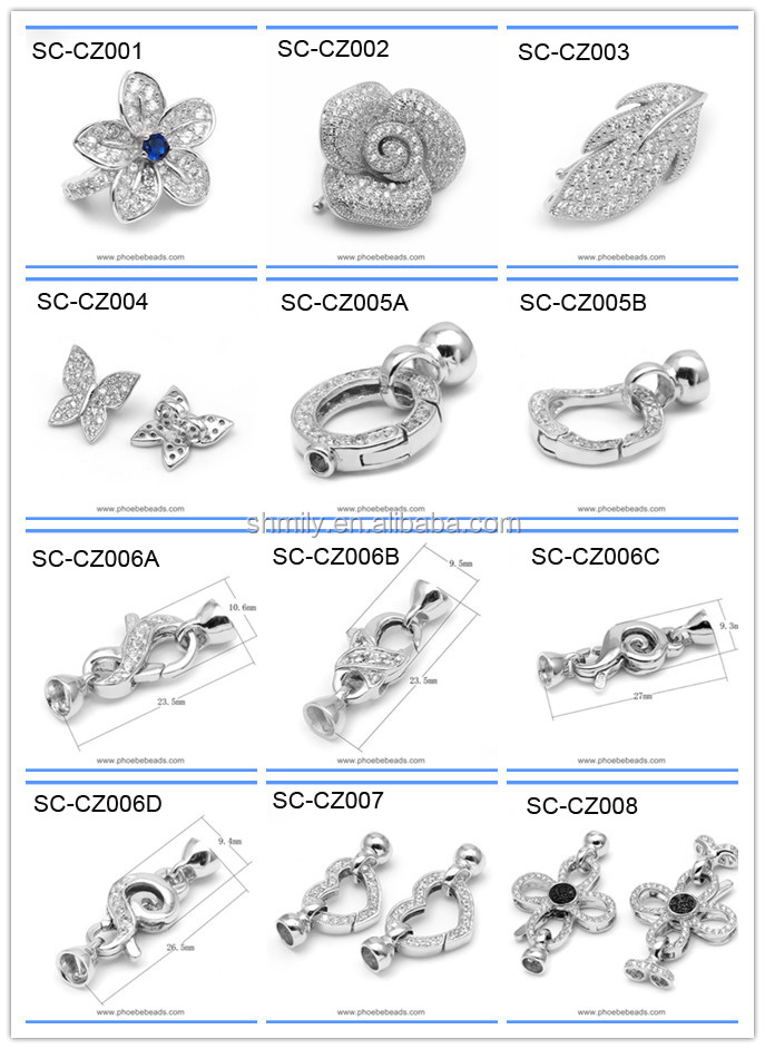 Fine Jewelry Component Flower Shape 925 Sterling Silver Zircon Pendant Clasps For Pearl Necklaces Scarf Clips Buckles SC-CZ002