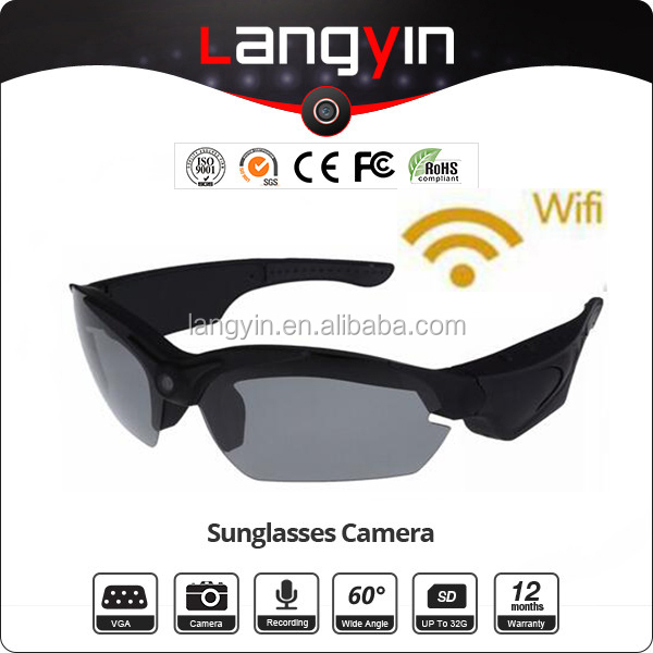 latest New WIFI camera 1080P video camera sunglasses live streaming through mobile phone