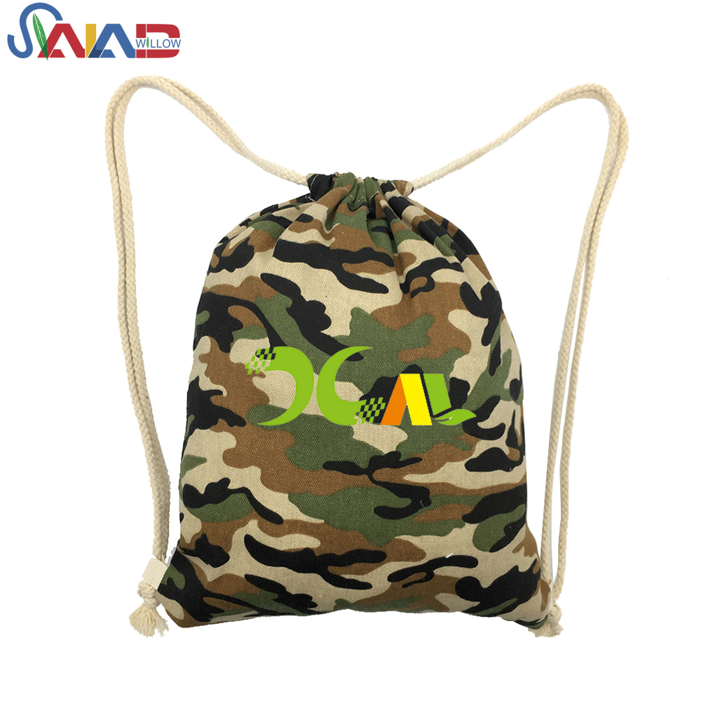 Fashion military camouflage canvas school drawstring backpack bag
