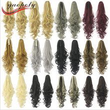 aliexpress synthetic hair extension Brown blonde synthetic hair pony tail Long curly weave claw clip ponytails hair pieces