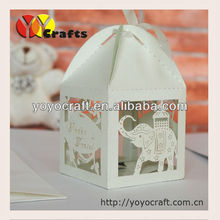 Elephant wedding favors boxes,laser cut holiday favor cupcake boxes with ribbon