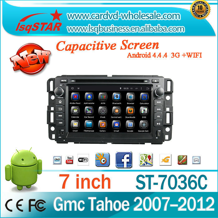Central multimedia Support 3G /Wifi/OBD/TPMS Android 4.4 auto radio audio RDS ,GPS BT car dvd for GMC Yukon/Tahoe 2007--2012