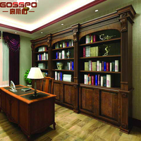 China factory teak wood bookcase with study table