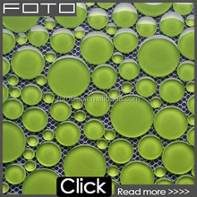 Round green crystal glass pebble mosaic tile