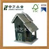 Handicrafted colorful painting hanged outdoor green public wood bird house nesting for kids