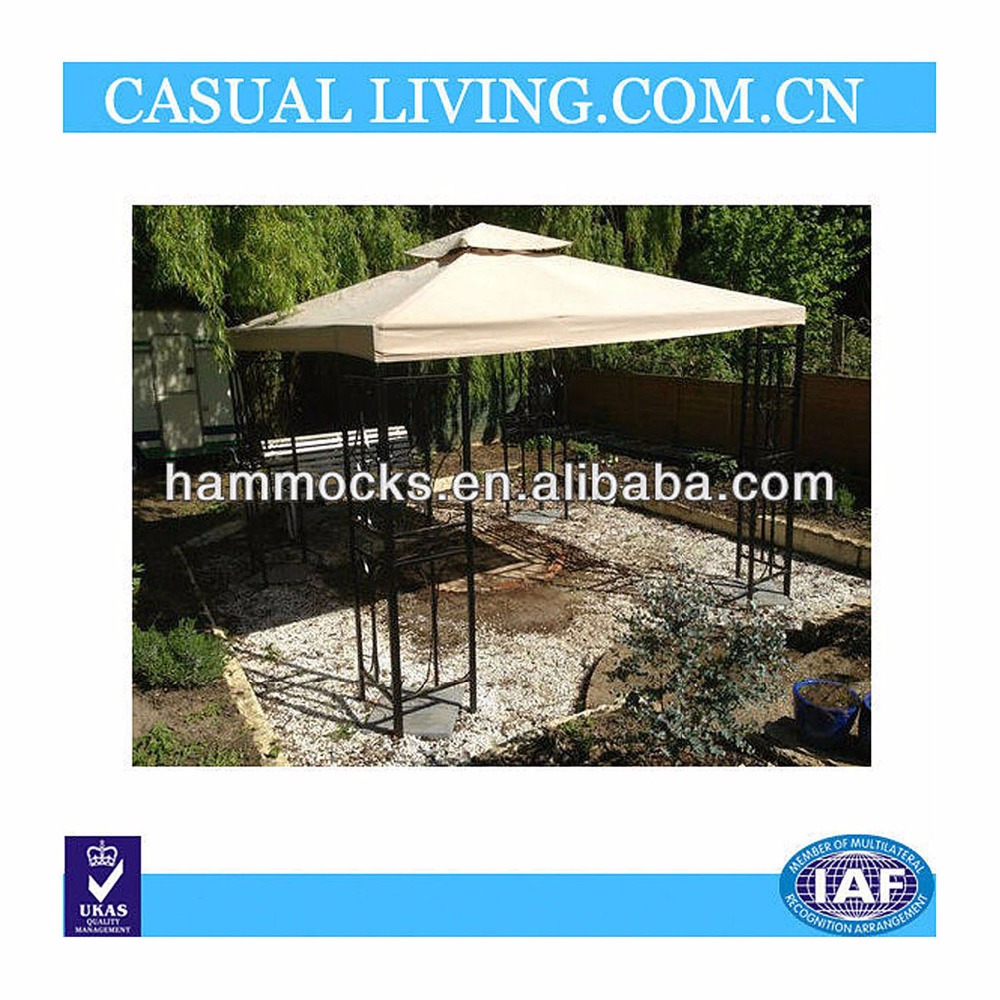 GARDEN PATIO METAL GAZEBO WITH DRINK FOOD BAR 3M X 3M