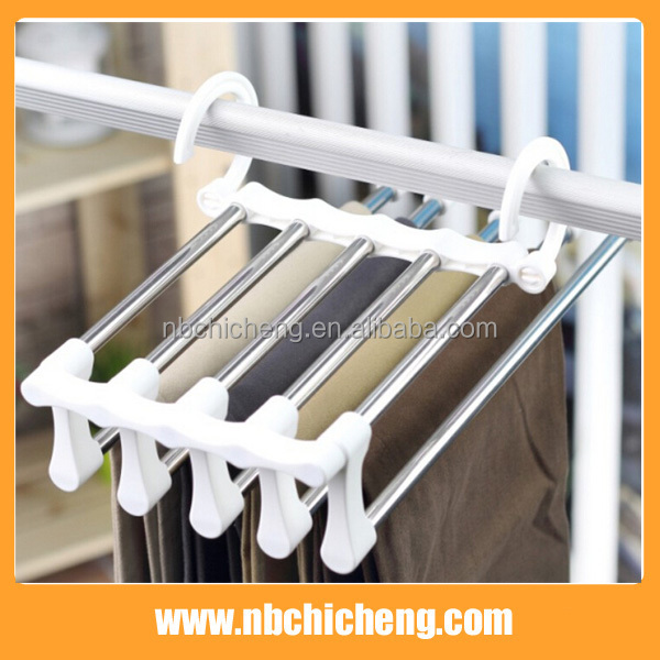 Space Saving Hangers 5 in 1 Trousers Pants Denim Jeans Scarf Coat Hanger Hook Clothes Rack
