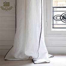 New Design Modern Cheap Sheer Voile With Ribbon Window Curtain