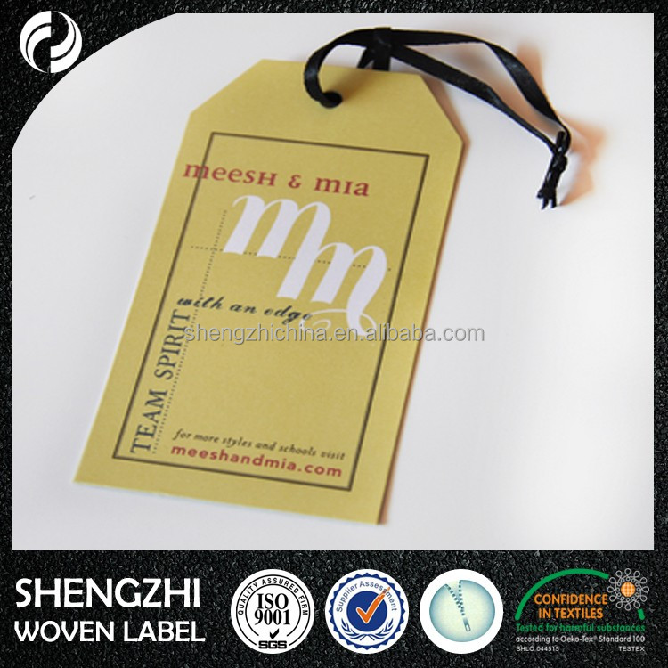 Fancy lovely paper garment hangtags and labels printing