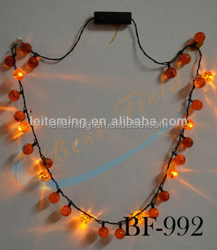 New led pumpkin flashing Halloween necklace