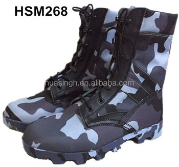 tropical weather Panama pattern sole navy camouflage army canvas boots