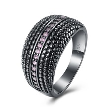 Brand Fashion Diamond Engagement Ring for Women with Paved Micro Zircon Pink Crystal Wedding Finger Ring Fashion Ring