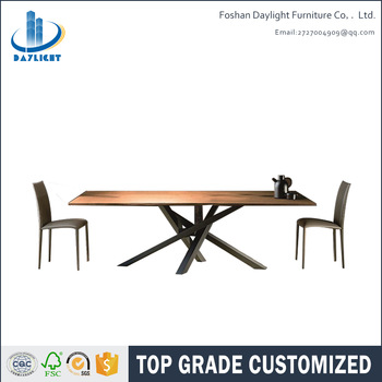 Newest design furniture northern european style dining room furniture wooden dining room tables with metal leg