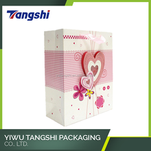 Heart shape 3D paper decorate valentine paper gift bag