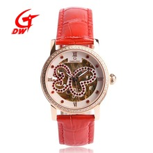 High End Fashion Luxury Diamonds Gemstone Skeleton Women's Quartz Wristwatch