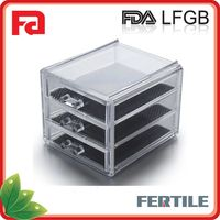 Deluxe Diamond Handle Clear Acrylic Makeup Organizer 3 Drawer Kardashian-style Storage Box Cube Case w Flip Top Quality